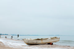 Nordic Winter Landscape with boat Stock Photography