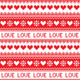 Nordic, winter love seamless red heart pattern Stock Image