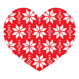 Nordic, winter red heart pattern Stock Images