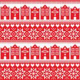 Nordic, winter seamless red pattern with houses Stock Photo