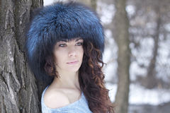 Nordic woman. Portrait of beautiful woman in a winter forest Stock Photos