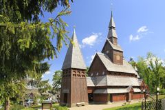 Nordic wood church Royalty Free Stock Photo