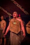 NORDinsel, NEUES SEELAND 17. MAI 2017: Schließen Sie oben von einem Tamaki Maori-Mann mit traditionsgemäß tatooed Gesicht in trad Lizenzfreie Stockfotografie