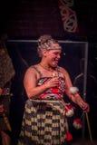 NORDinsel, NEUES SEELAND 17. MAI 2017: Schließen Sie oben von einer lächelnden Tamaki Maori-Frau mit traditionsgemäß tatooed Gesi Lizenzfreie Stockfotografie