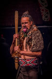 NORDinsel, NEUES SEELAND 17. MAI 2017: Tamaki Maori-Mann, der heraus Zunge mit traditionsgemäß tatooed Gesicht und herein haftet Stockbilder