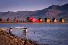 Nordische Fjorde bei Sonnenuntergang - Austurland, Island Stockbild
