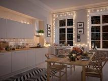 Nordische Küche in einer Wohnung Wiedergabe 3d Blätter u lizenzfreies stockbild