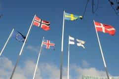 NORDISCHE LÄNDER UND FLAGGE DER EUROPÄISCHEN GEMEINSCHAFT Lizenzfreie Stockfotos