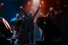 Nordische Ritualvolksband NYTT LAND-Ausführung Live an Yotaspace-Club am 4. Februar 2017 in Moskau, Russland lizenzfreie stockfotos