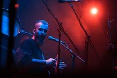 Nordische Ritualvolksband NYTT LAND-Ausführung Live an Yotaspace-Club am 4. Februar 2017 in Moskau, Russland lizenzfreies stockbild