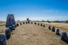 Nordisches Bronzezeitaltergräberfeld in Schweden Lizenzfreies Stockbild