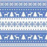 Nordisches nahtloses Weihnachten gestrickter Hintergrund Stockfotos
