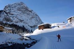 Nordisches Skifahren in Zug, Voralberg, Österreich stockfotografie