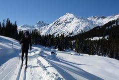 Nordisk skidåkning i Zugertal, Lechquellengebirge, Vorarlberg, Österrike Arkivbild