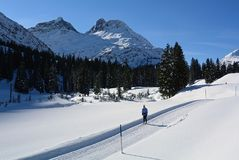 Nordisk skidåkning, Lechquellengebirge, Vorarlberg, Österrike Royaltyfria Bilder
