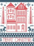Nordisk stil för glad jul och inspirerat av den skandinaviska julmodellillustrationen i arg häftklammer vektor illustrationer