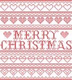 Nordisk stil för glad jul och inspirerat av modellen för jul för hantverk för skandinavkorshäftklammer den sömlösa i rött, vit me stock illustrationer