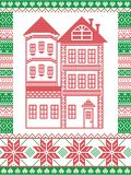 Nordisk stil för vinter och inspirerat av den skandinaviska julmodellillustrationen i arg häftklammer inklusive högväxt pepparkak royaltyfri illustrationer