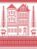 Nordisk stil och inspirerat av den skandinaviska julmodellillustrationen i den arga häftklammeren, högväxt pepparkakahus royaltyfri illustrationer