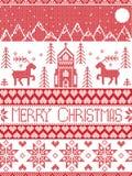 Nordisk stil och inspirerat av modellen för glad jul för hantverk för skandinavkorshäftklammer i rött och vitt inklusive vinterun vektor illustrationer