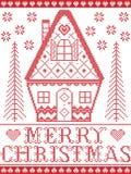 Nordisk stil och inspirerat av modellen för glad jul för hantverk för skandinavkorshäftklammer i rött och vitt inklusive hjärta,  royaltyfri illustrationer