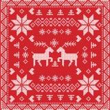 Nordisk vinterhäftklammer för skandinavisk stil som sticker den sömlösa modellen i fyrkant, tegelplattaform inklusive snöflingor, royaltyfri illustrationer