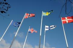 NORDISKA LÄNDER OCH EUROPEISK FACKLIG FLAGGA Royaltyfri Fotografi