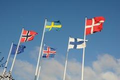 NORDISKA LÄNDER OCH EUROPEISK FACKLIG FLAGGA Royaltyfria Foton