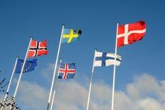 NORDISKA LÄNDER OCH EUROPEISK FACKLIG FLAGGA Fotografering för Bildbyråer