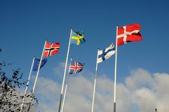 NORDISKA LÄNDER OCH EUROPEISK FACKLIG FLAGGA Arkivfoton