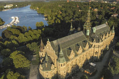 Nordiska Museet. The Nordic Museum on the island Djurgården seen from above with the canal and Skansen in the background. Stockholm, Sweden Stock Images