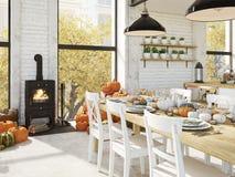 Nordiskt kök i en lägenhet framförande 3d Lämnar & kalebasser och ett keramiskt kalkonhuvud för att bilda en begreppsmässig kalko Royaltyfri Fotografi
