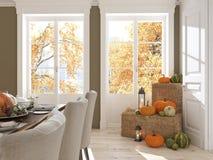 Nordiskt kök i en lägenhet framförande 3d Lämnar & kalebasser och ett keramiskt kalkonhuvud för att bilda en begreppsmässig kalko Arkivbilder