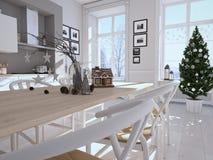 Nordiskt kök med julgarnering framförande 3d Arkivfoton