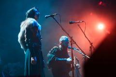 Nordiskt rituellt LAND för folkmusikband som NYTT direkt utför på den Yotaspace klubban på Februari 04, 2017 i Moskva, Ryssland Royaltyfri Bild