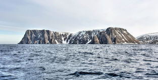 Nordkapp cliff panorama. Spring panorama landscape for Nordkapp Royalty Free Stock Image