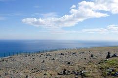 Nordkapp/de middernachtlandschap van de Kaap van het Noorden, Noorwegen Stock Afbeelding