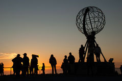 Nordkapp. Globe Monument at North Cape, Norway. Midnight at Nordkapp. Globe Monument at North Cape, Norway Stock Images