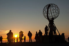 Nordkapp. Globe Monument at North Cape, Norway. Midnight at Nordkapp. Globe Monument at North Cape, Norway Stock Photo