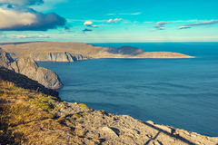 Nordkapp, Norway. Fjord with blue sky in sunny day. Nordkapp, Norway Royalty Free Stock Photo