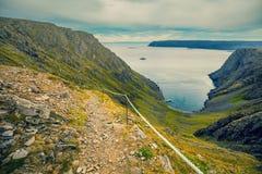 Nordkapp, Norway. Fjord in cloudy weather. Nordkapp, Norway Stock Photo