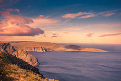 Nordkapp, Norway. Fjord at sunset. North Cape. Nordkapp, Norway Royalty Free Stock Image