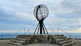 NORDKAPP, NORWAY -  Globe monument at Nordkapp, the northernmost. Point of Europe Royalty Free Stock Photos