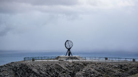 Nordkapp, Norway - June 6, 2016: Globe monument at Nordkapp, the northernmost point of Europe Royalty Free Stock Photos