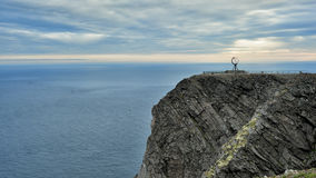 NORDKAPP, NORWAY - A view on the North Cape cliff and Globe Monu Stock Image