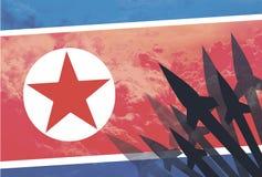 Nordkorea för raketkonturbakgrund flagga Royaltyfria Bilder