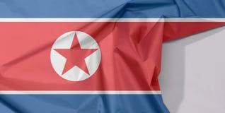 Nordkorea-Gewebeflaggenkrepp und -falte mit Leerraum lizenzfreies stockbild