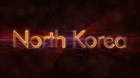 Nordkorea - glänzende Schleifungsländername-Textanimation stock video footage