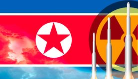 Nordkorea missilvapen som är klara att lansera flagga norr korea royaltyfria foton