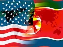 Nordkorea och diplomatisk illustration för samtal 3d för USA royaltyfri illustrationer